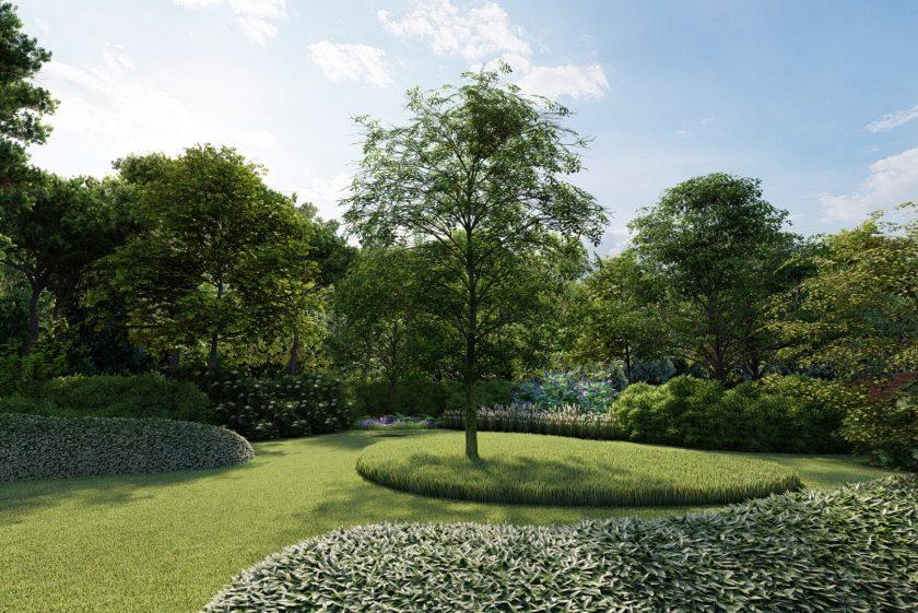 Moderne tuin in een bosrijke omgeving